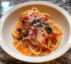 linguini with grape tomatoes