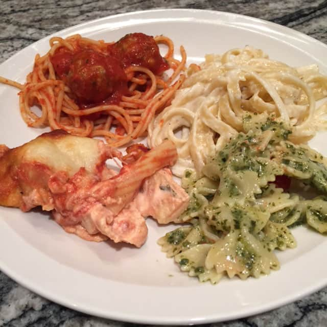 Spaghetti with meatballs and sausage; bowtie pesto pasta with oven roasted tomatoes; fettuccini alfredo;  baked ziti