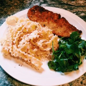 chicken cutlets and cacio e pepe