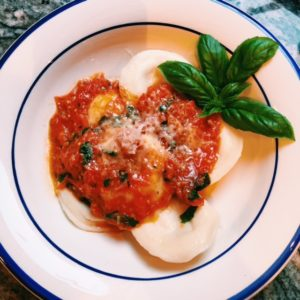 ravioli with a quick tomato sauce