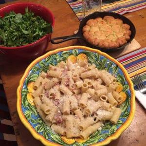 pasta alla gricia arugula salad garlic knots