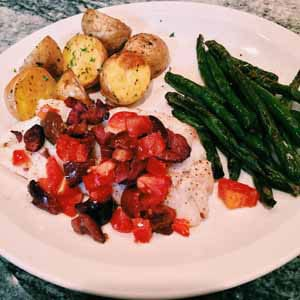 fish Provencal with potatoes and string beans