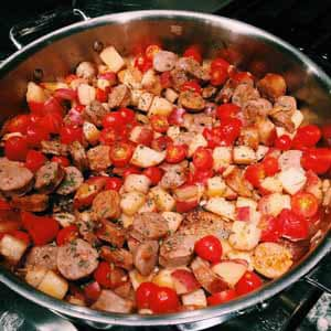 one skillet italian sausage and potatoes