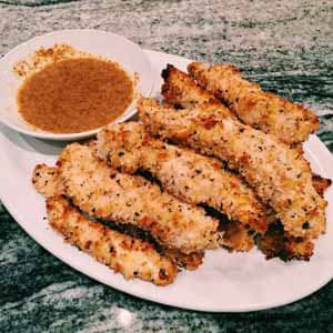 oven baked chicken fingers with honey mustard dipping sauce