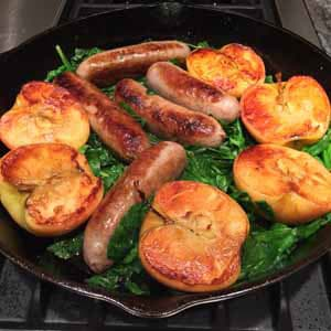 pan seared sausage with apples and spinach