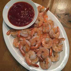 roasted shrimp with cocktail sauce