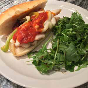 hot italian chicken sausage sandwiches