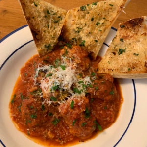 skillet meatballs with garlic toast